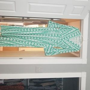 Green and white printed dress